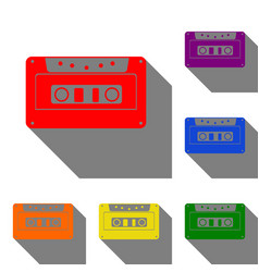 cassette icon audio tape sign set of red orange vector image