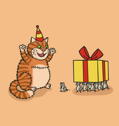 cat and mouse with a gift vector image