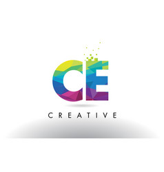 Ce c e colorful letter origami triangles design vector