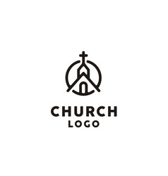 Church chapel catholic christian cross logo line vector