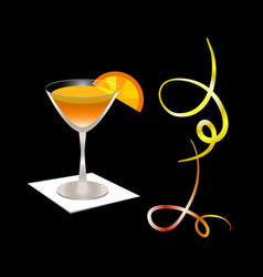 cocktail glass with orange slice on a napkin vector image