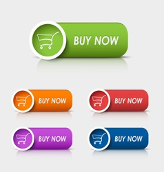 Colored rectangular web buttons buy now vector