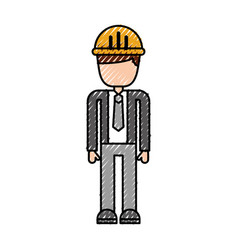 construction worker man with helmet character vector image