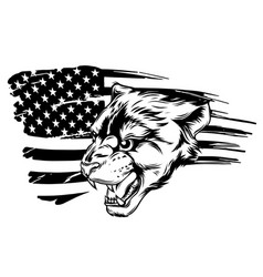 Cougar panther mascot head graphic art vector