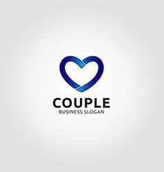 couple - line heart logo vector image