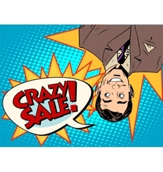 Crazy sale announcement man upside down vector image