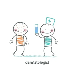 Dermatologist giving medicine patient vector