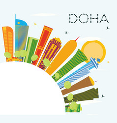 Doha skyline with color buildings blue sky and vector