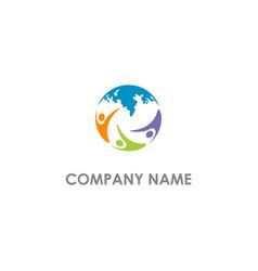 Earth world unity people logo vector