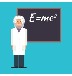 Einstein is standing next to the blackboard with vector image