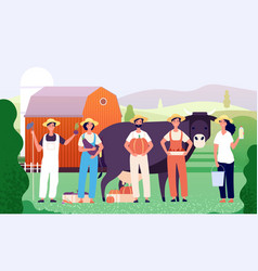 farmers group agricultural workers farmer team vector image
