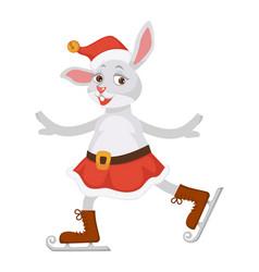 Female rabbit in skirt and christmas hat skates vector