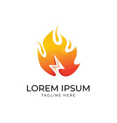 Flash with fire logo design vector