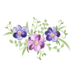 Floral watercolor ornament with leaves vector