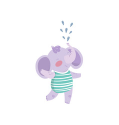 funny purple elephant standing and spraying water vector image