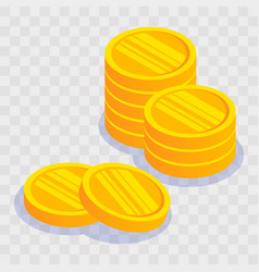 gold coin stack on light transparent background vector image
