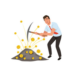 Guy mining cryptocurrency with pickaxe man vector