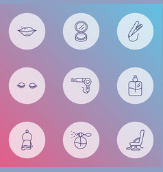 hairdresser icons line style set with cologne vector image
