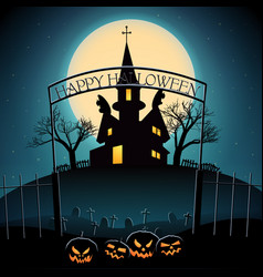 Halloween composition on blue background vector
