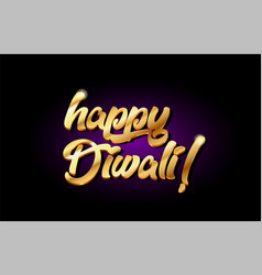 Happy diwali 3d gold golden text metal logo icon vector