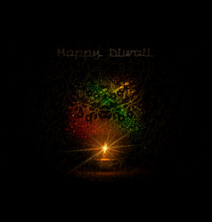 Happy diwali indian lights festival holiday card vector