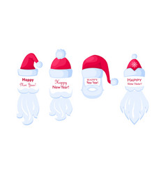 Happy new year santa claus caps and white beards vector