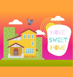 home sweet home kids colorful cute card vector image