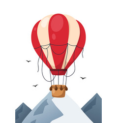 hot air balloon in sky with mountains vector image