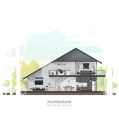 House cross section with furniture vector
