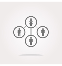 icon button with network woman inside vector image
