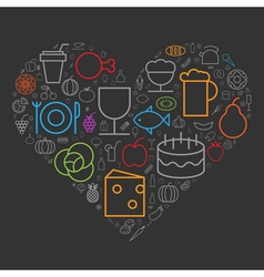 icons shape line food drinks heart vector image