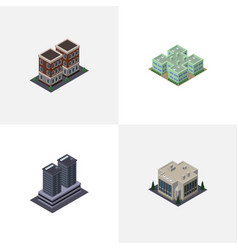 Isometric building set of tower house clinic and vector
