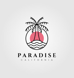 line art palm island logo design vector image