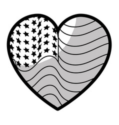 Line nice heart with usa flag inside vector