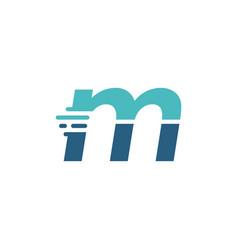 M letter dash lowercase tech digital fast quick vector