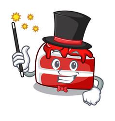 Magician red velvet mascot cartoon vector