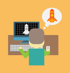 man in front of pc with a rocket taking off vector image