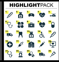 Medicine icons set collection of plus pills vector