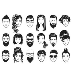 Men with stylish beards and vector