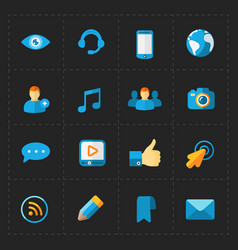 Modern flat social icons set on dark vector