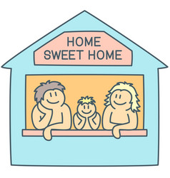Mom dad and boy in doodle concept sweet home vector