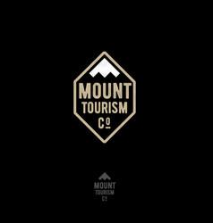 mountain tourism agency emblem peaks label vector image