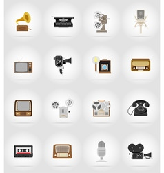 Multimedia flat icons 17 vector