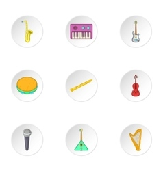 Musical device icons set cartoon style vector image