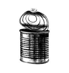 Old tin can with top opened vector