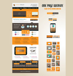 One page website flat UI design template vector image