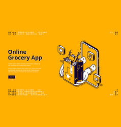 online grocery app isometric landing page banner vector image