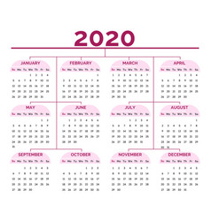 organizer and 2020 calendar grid business planner vector image