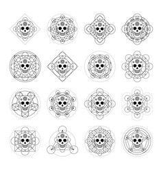 Ornamental skulls with geometric symbol vector