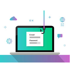 Phishing concept stealing login and password vector